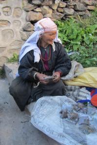 Kobieta sprzedająca zioła w Himalajach w Indiach.